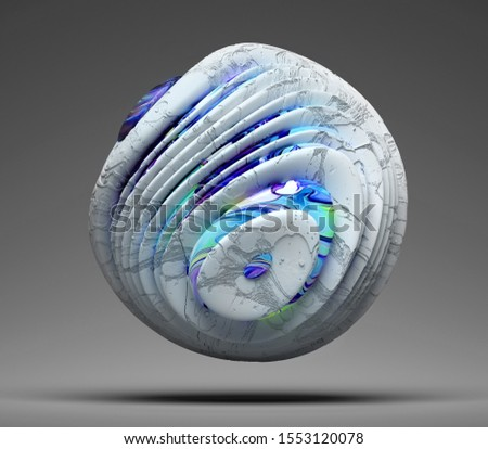 3d render of abstract 3d ball in organic curve round smooth shape with rough texture in white concrete material with glossy parts painted in acrylic in blue and green color on grey background stock photo