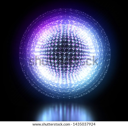 3d render of abstract 3d ball with neon purple lights with atomic wire structure on black background and matte reflection on the ground