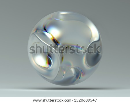 3d render of abstract glass ball with dispersion effect, inside  organic metalic figure with curves soft lines on dark grey background