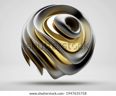 3d render of abstract with 3d surreal sculpture in spherical organic curve round wavy biological lines forms in matte aluminium and glossy gold metal material on light grey background