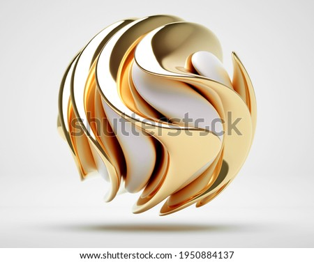 3d render of abstract with 3d surreal sculpture in spherical organic curve round wavy biological lines forms in white matte plastic and glossy gold metal material on light grey background
