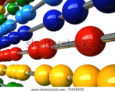 3d render of an abacus with colorful balls