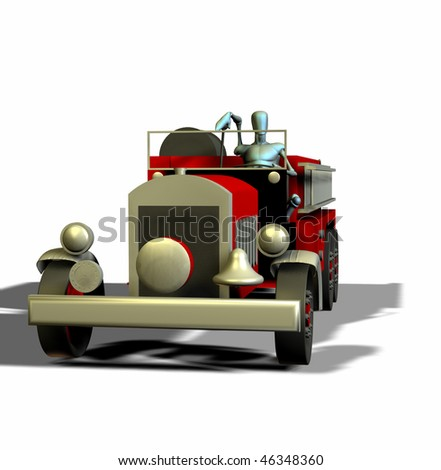 3d render of an antique fire truck and manikin front view