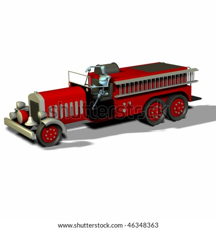 3d render of an antique fire truck and manikin side view