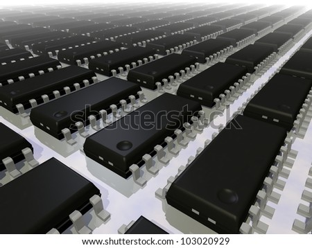 3d render of an array of SOIC 16N electronic components