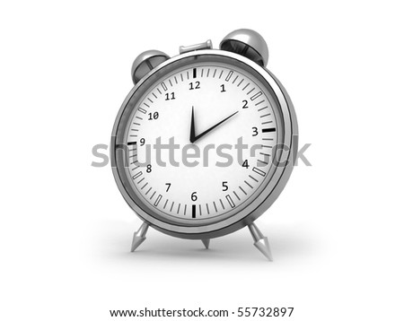 3d render of an isolated chrome alarm clock