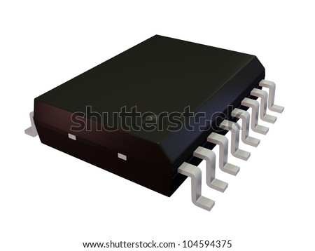 3d render of an Isolated SOIC 16W Electronic Component - stock photo