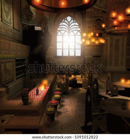 3d render of an old fantasy, medieval tavern interior with counter, tables, chairs, bottles and barrels