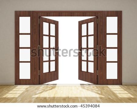 3D Render of an Open Door