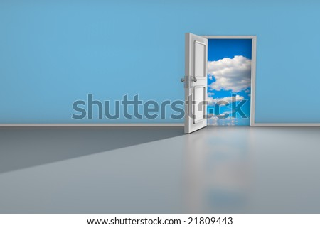 3D render of an open door to a dreamy place.