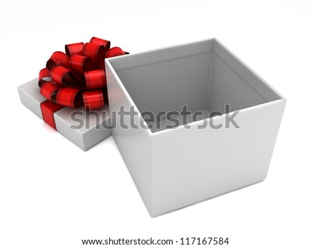 3D render of an open white gift box with red ribbon