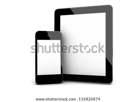 3d render of an smart phone and a tablet