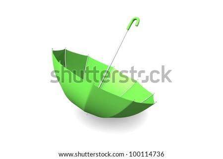 3d render of an upside down umbrella in green