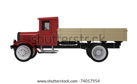 3d render of  ancient lorry on a white background