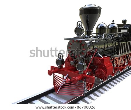 3d render of  ancient train on a white background
