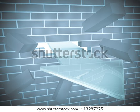 3d render of arrow breaking brick wall