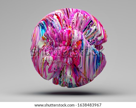 3d render of art piece of surreal 3d ball or abstract planet, or asteroid like sponge in organic curve wavy biological forms in purple blue red and white color  on light grey background stock photo