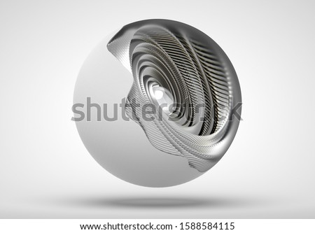 3d render of art with abstract mechanical ball in white rough plastic outside and silver metal inside of turbines in swirl or twisted blades elements, with glass sphere as core, looks like robot eye