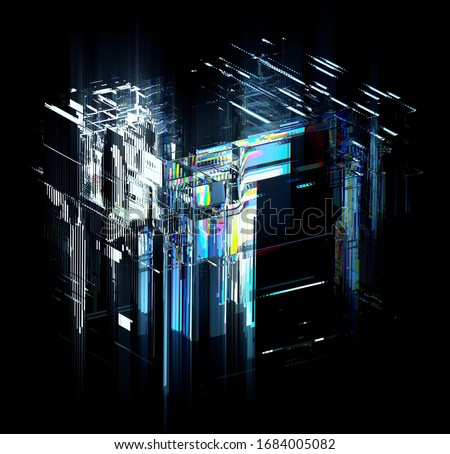 3d render of art with surreal 3d technology technology cube with abstract cubical processors transistors and microchips in glass material with color rainbow spectrum dispersion effect on black back