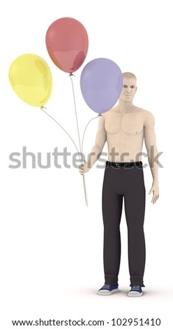 3d render of artifical male with balloons