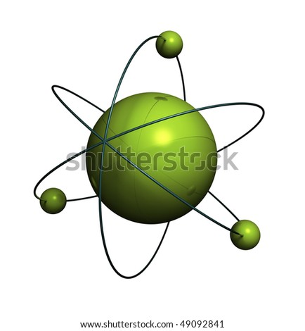 3d render of atom structure on white background