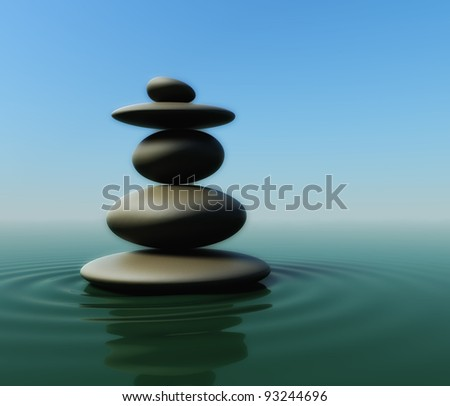 3d render of balancing stones on water surface