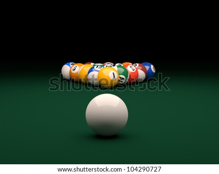 3d render of balls on a pool (billiards) green table
