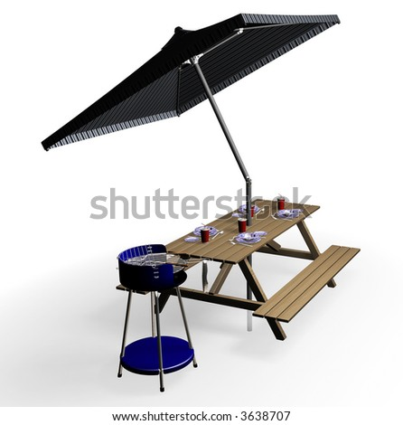 3D render of barbecue items