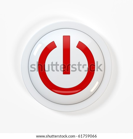 3d render of beautiful power button on white background - stock photo