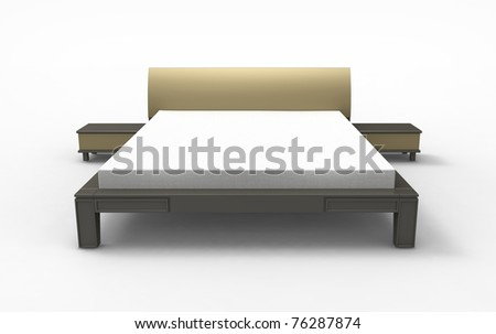 3d render of  bed with bedside tables on a white background