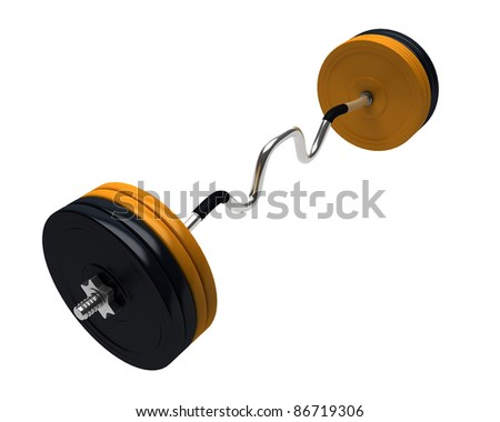 3D render of bench press weights isolated on white background