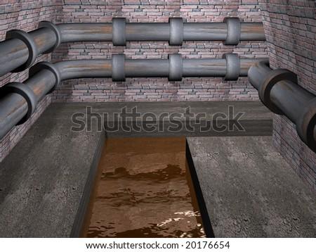 3d render of bending road in sewerage.