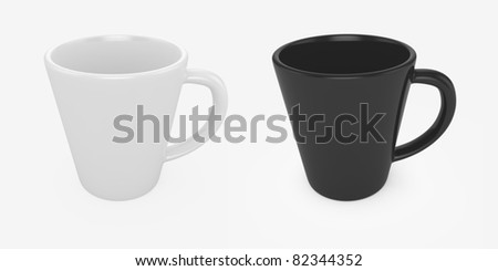 3d render of black and white cups isolated on white - stock photo