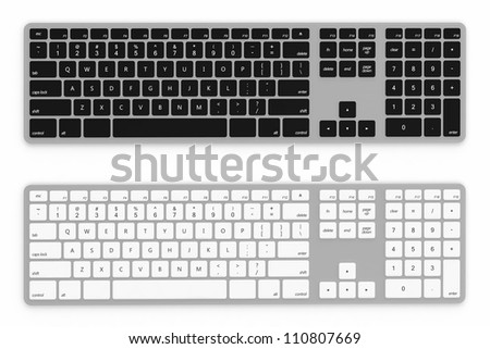 3D render of black and white keyboard isolated on white background