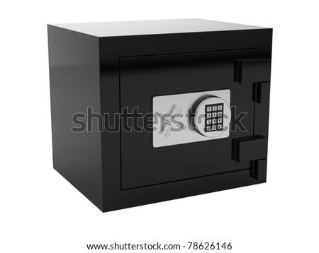 3d render of black metal safe box on white