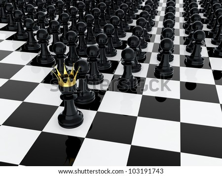 3D render of black pawn with golden crown leading it army
