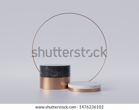 3d render of black white marble pedestal steps isolated on white background, golden ring, round frame, 2 cylinders, abstract minimal concept, blank space, simple clean design, luxury minimalist mockup