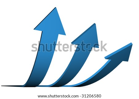 3D Render of blue arrows isolated on white background. Business concept: Success.