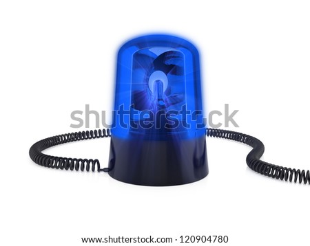 3d render of blue flashing light on a white background