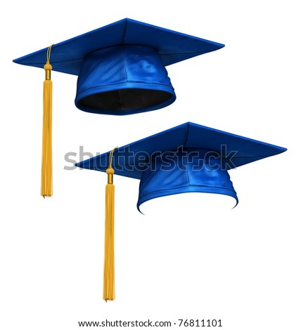 3D render of blue graduation cap with gold tassel isolated on white background