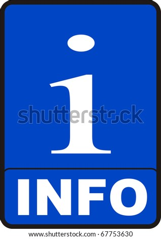 2d render of blue info sign isolated on white
