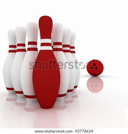 3d render of bowling ball crashing into the pins on white background
