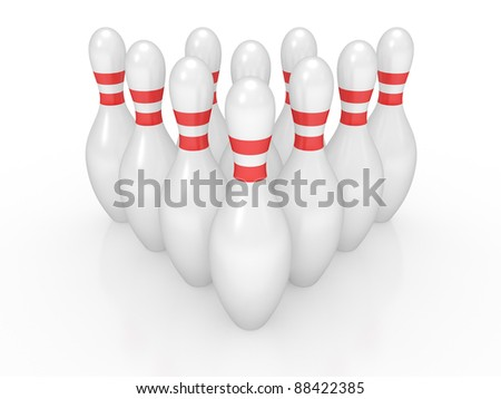 3d render of bowling pins on white background