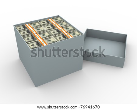 3d render of box filled with dollar packs