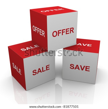 3d render of boxes with text sale, offer and save