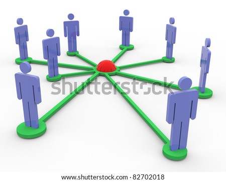 3d render of business people network