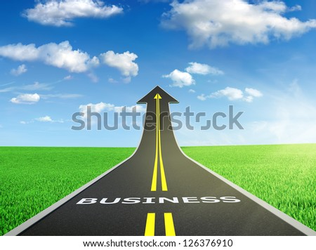3D render of business road on green field with blue sky on background