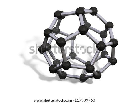 3d render of C28 carbon fullerene with soft shadow isolated on white - stock photo