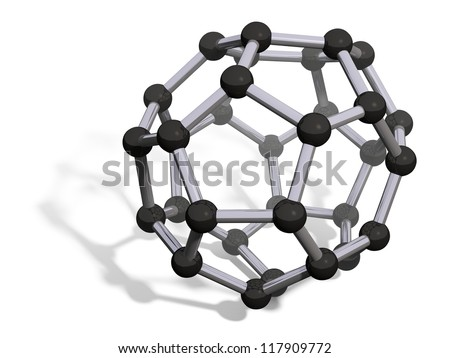 3d render of C32 carbon fullerene with soft shadow isolated on white