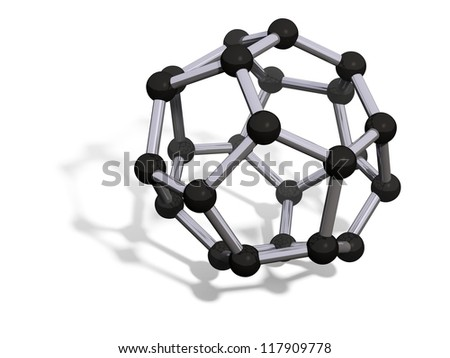 3d render of C24 carbon fullerene with soft shadow isolated on white - stock photo